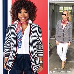 Talbots Oprah Collection Stripe Embroider Cardigan